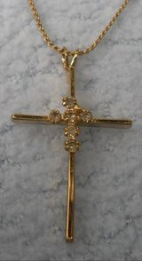 Cross on Chain with Rhinestones Vintage Gold Color in Kingwood, Texas